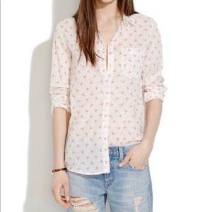 Madewell Flamingo Button Down Boyfriend shirt